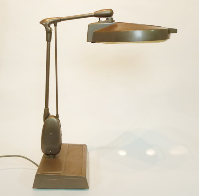 Brown Angle Poise Magnifying Desk Lamp