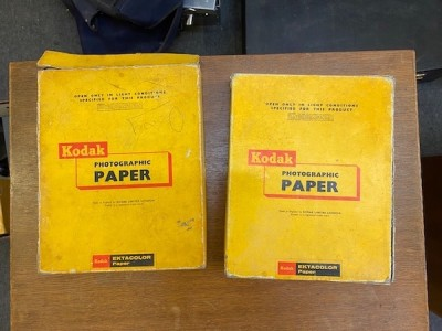 Vintage Kodak Photography Boxes With Developing Paper