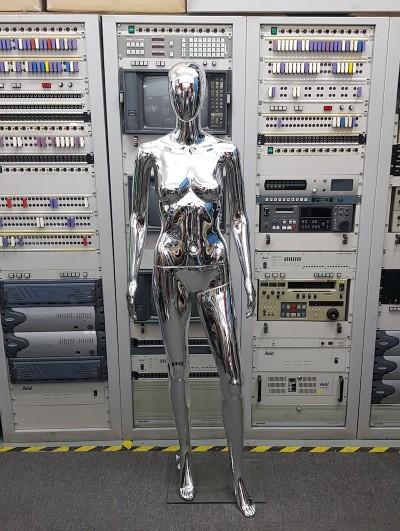 Silver metallic female mannequin