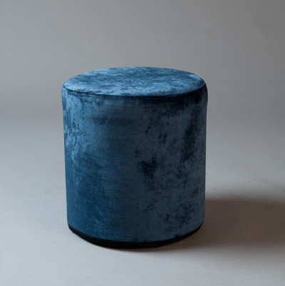 Small Blue Velvet Round Pouf