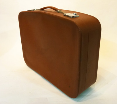 Brown Soft Leather Retro Suitcase