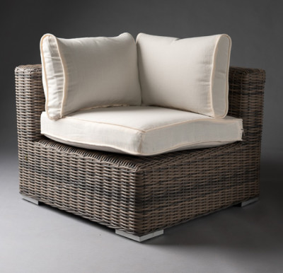White Outdoor Rattan Corner