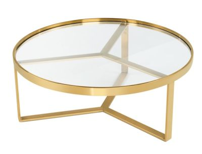 Glass coffee table with brass frame
