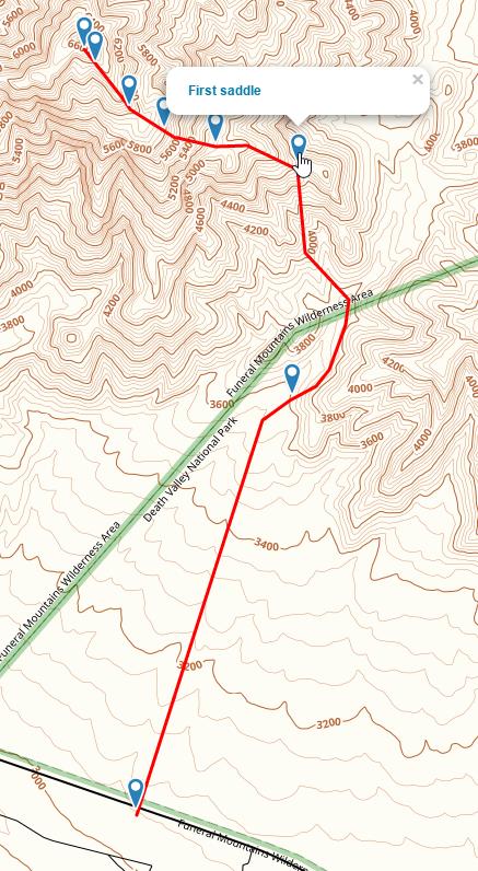 Pyramid Peak route in gaiagps.com