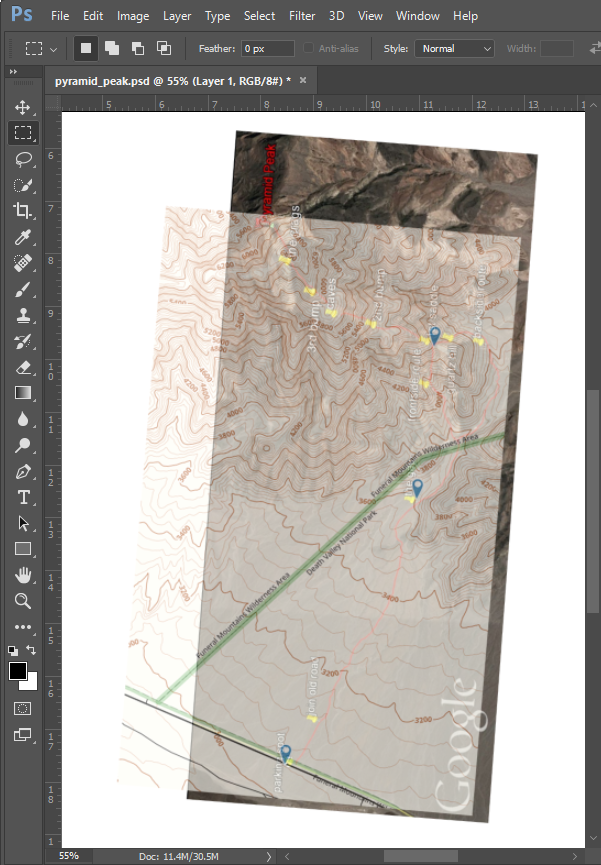 Pyramid Peak mapping in Photoshop