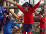 Fairfield children playing on the climbing frame