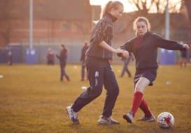 High School girls playing Football