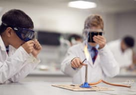 Grammar School pupils working in a Science lab
