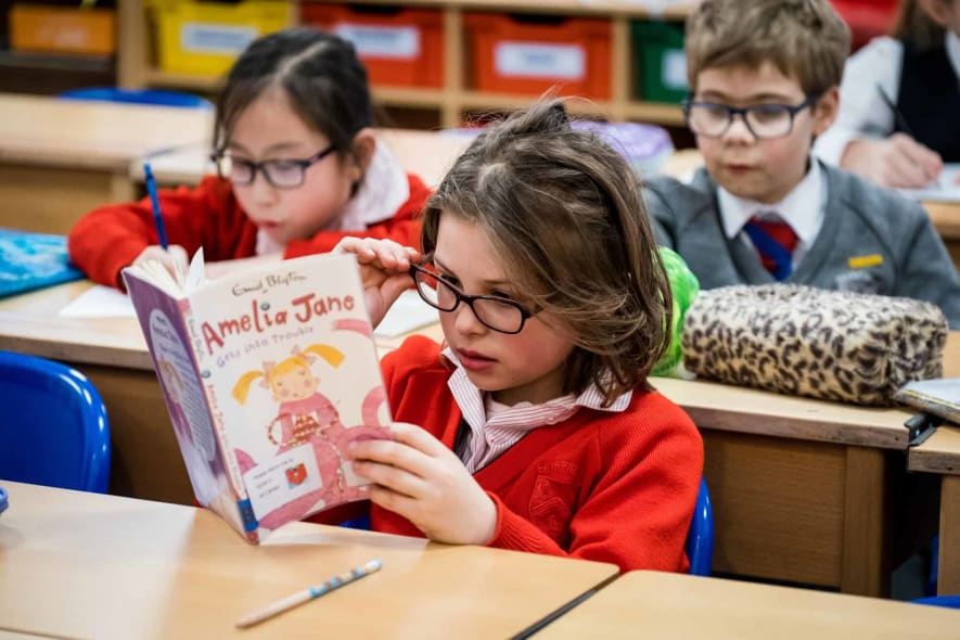 Fairfield pupils in quiet reading