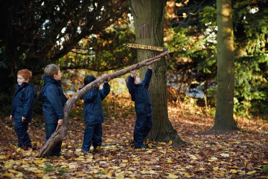 Fairfield children having fun in Forest School