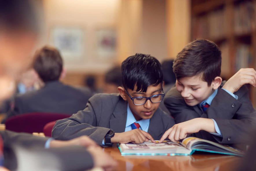 LGS pupils in the library reading