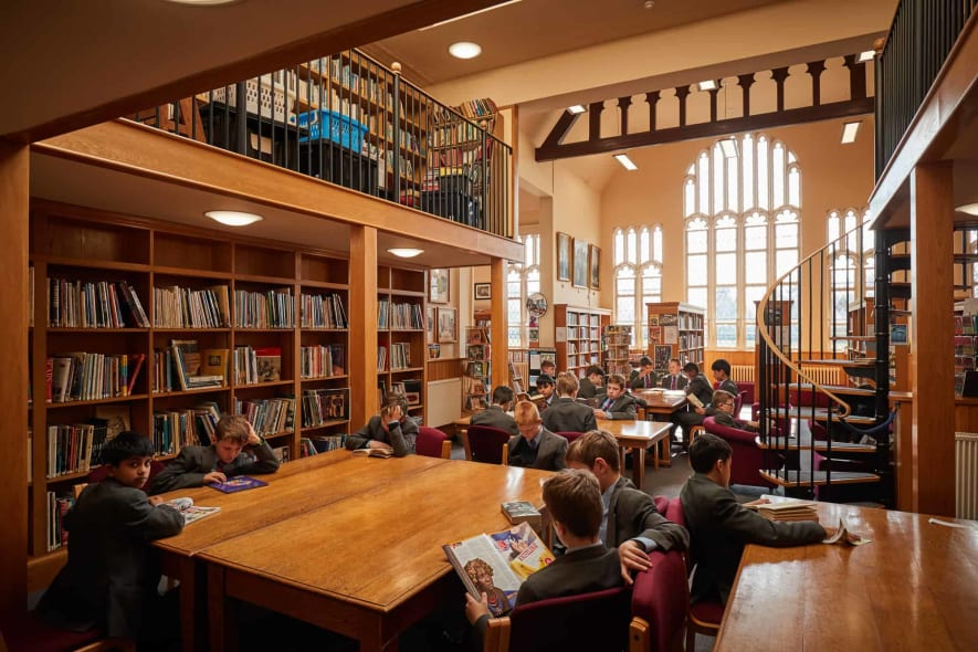 LGS pupils reading in the library