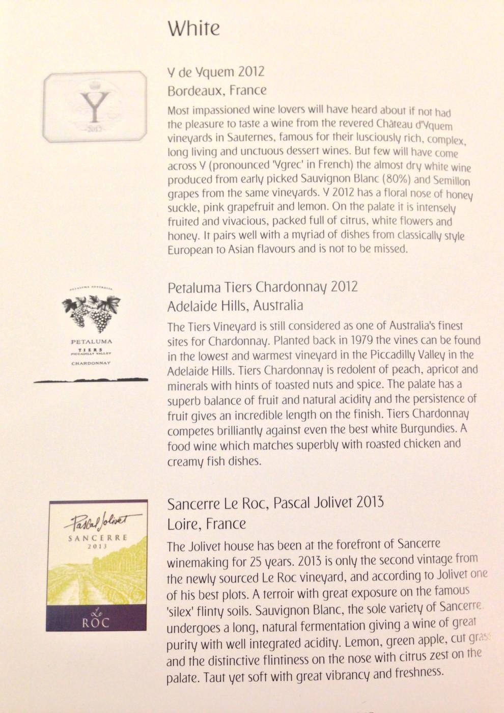 Emirates First Class White Wine List