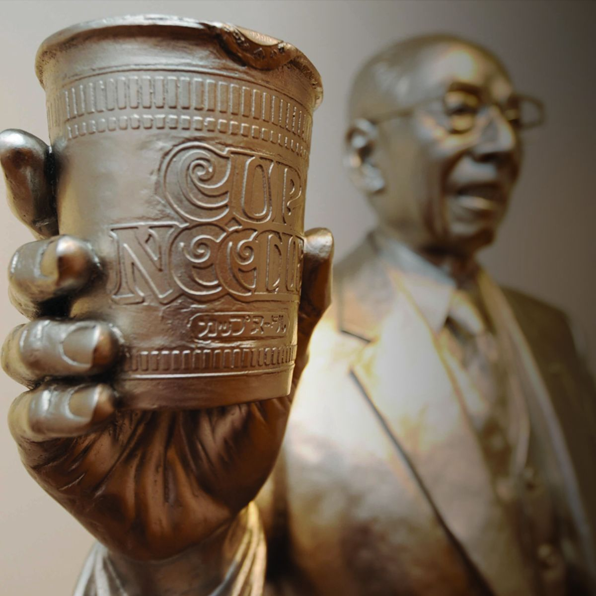 Silver Statue of Momofuku Ando, Godfather of instant noodles and cup noodles, from Cup noodle museum, Yokohama