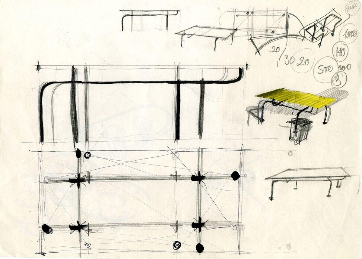 Schizzi di Vico Magistretti per il tavolo Edison
