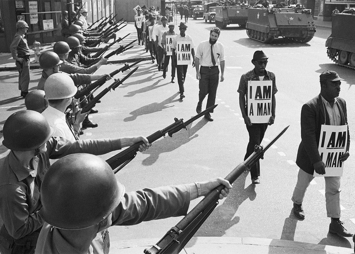 Manifestazione per i diritti civili a Memphis (Tennessee) il 29 Marzo 1968