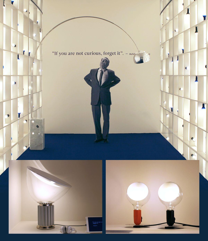 in alto: Arco, sotto, da sinistra a destra: Taccia, Lampadina. Design di Achille e Pier Giacomo Castiglioni