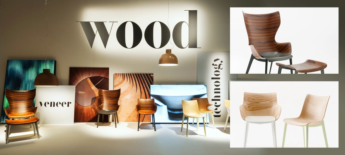 la Woody Collection di Philippe Starck per Kartell, presentata al Salone del Mobile 2018