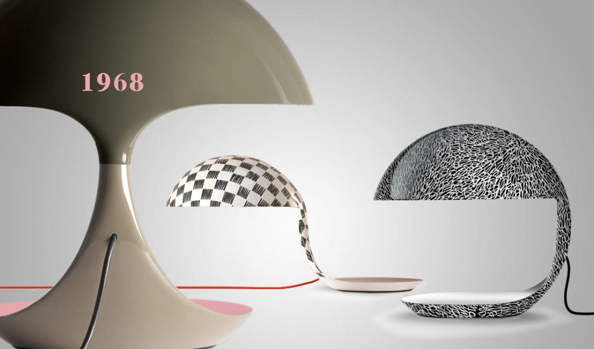 Le versioni celebrative per i 50 anni della lampada Cobra di Elio Martinelli