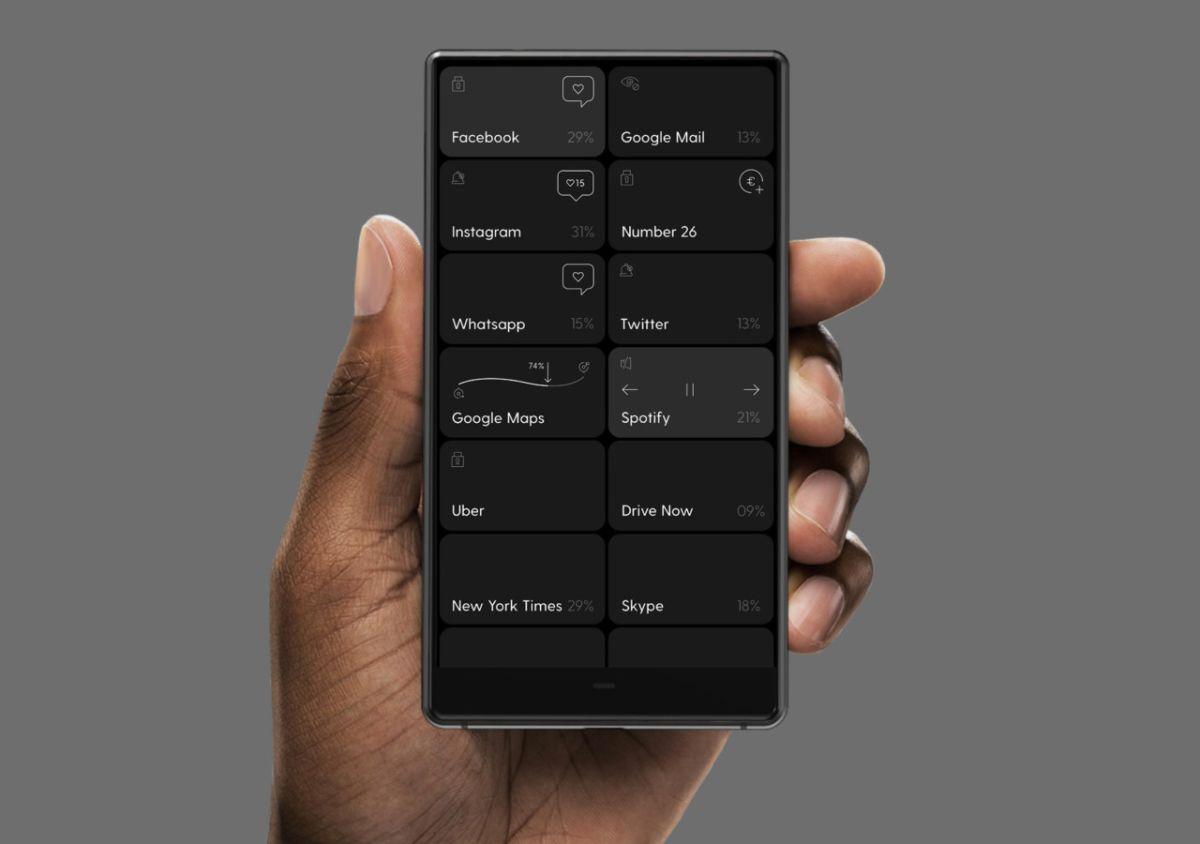 La schermata home di Blloc, lo smartphone in bianco e nero