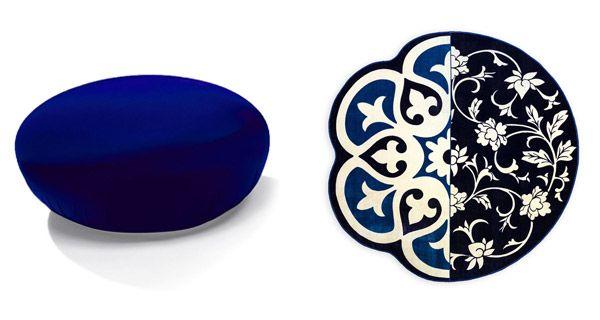 A sinistra: pouf Hollywood large by Bonaldo. A destra: tappeto rotondo Andria by Seletti