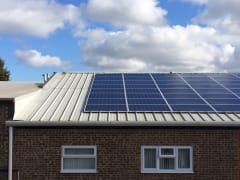 Solar panels on the rooftop of Owen Mumford, owned and managed by Low Carbon Hub