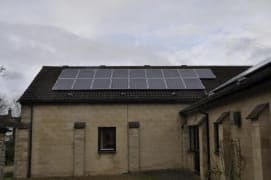 Solar panels on the rooftop of Watchfield Village Hal