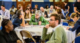 Attendees chat at OxFutures Conference, Oxford Town Hall Friday 27th September 2019