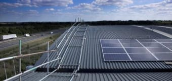 Solar panels on the rooftop of Prodrive owned and managed by Low Carbon Hub