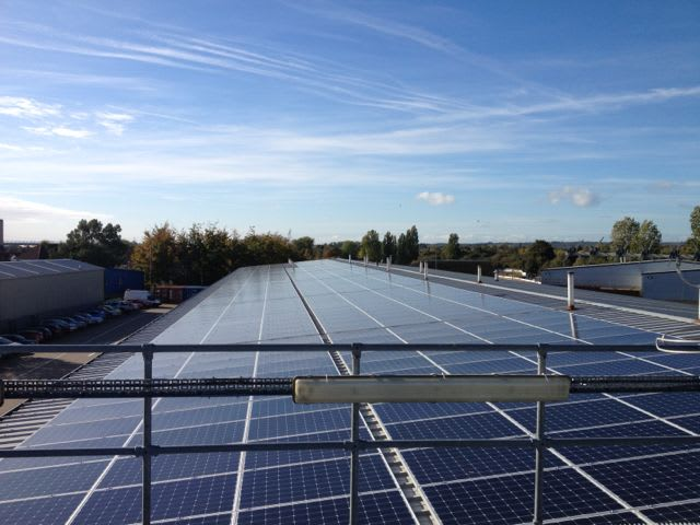 Solar panels on the rooftop of Oxford Bus Company, owned and managed by Low Carbon Hub
