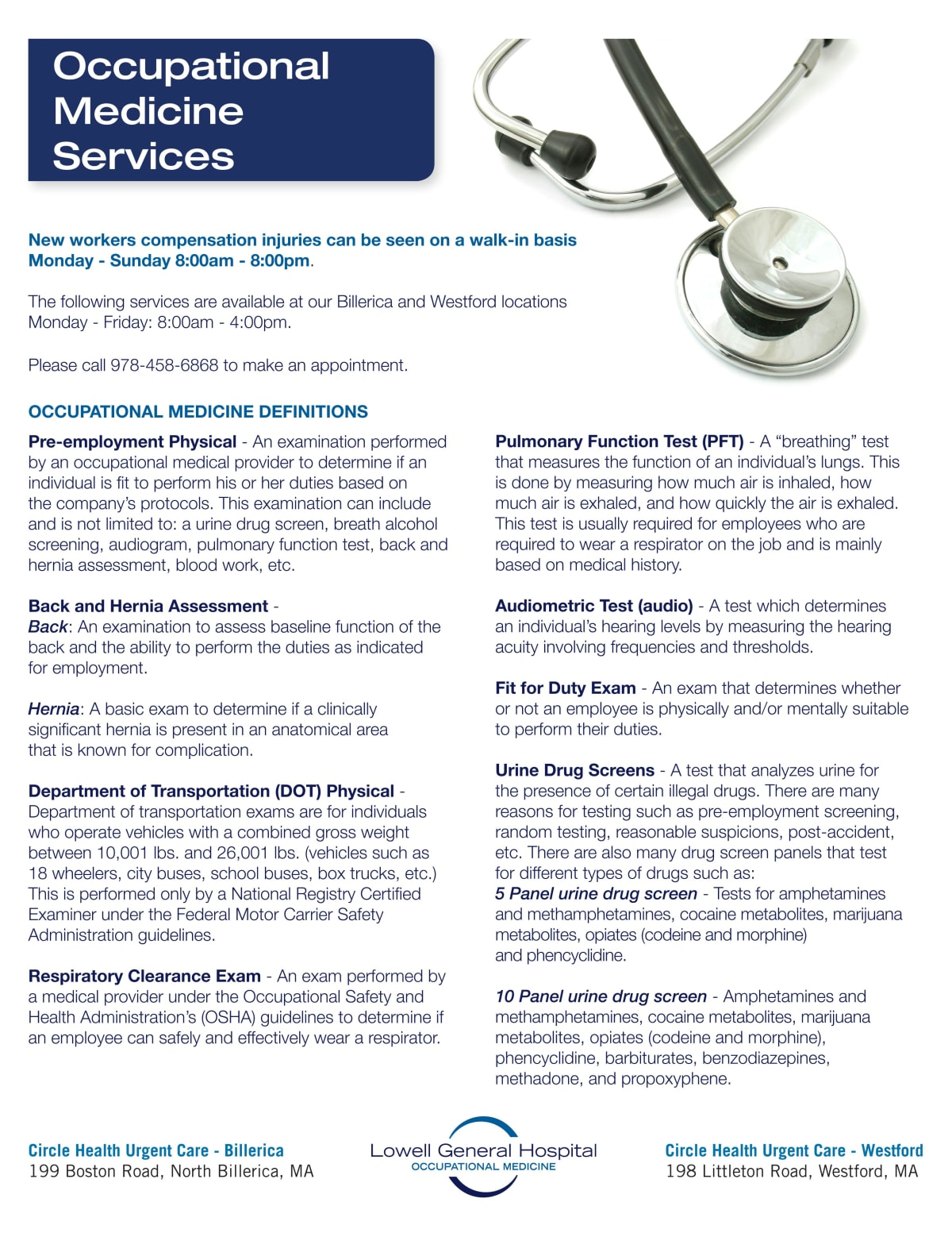 Occupational Medicine flyer // Lowell General Hospital