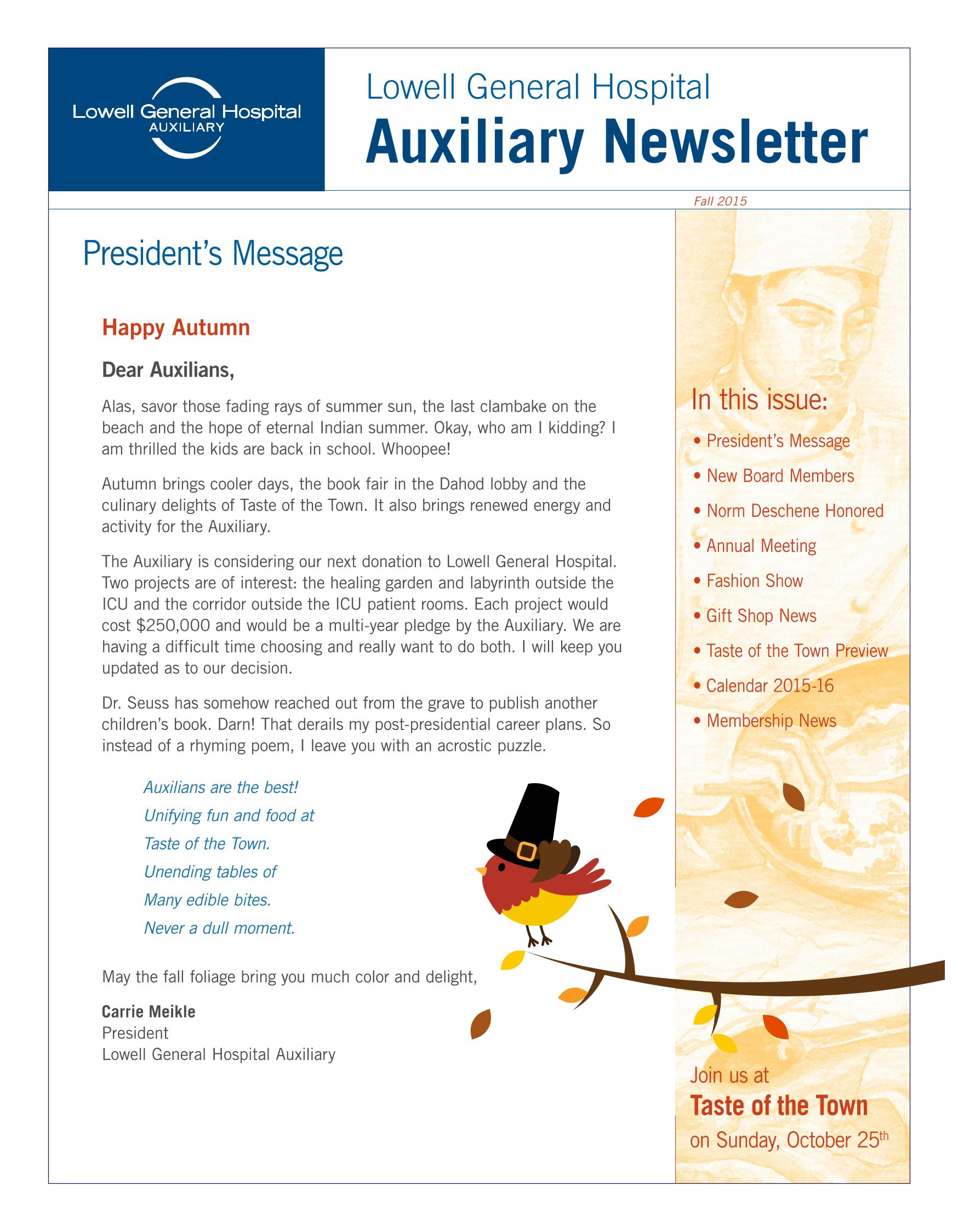 Fall 2015 Auxiliary Newsletter