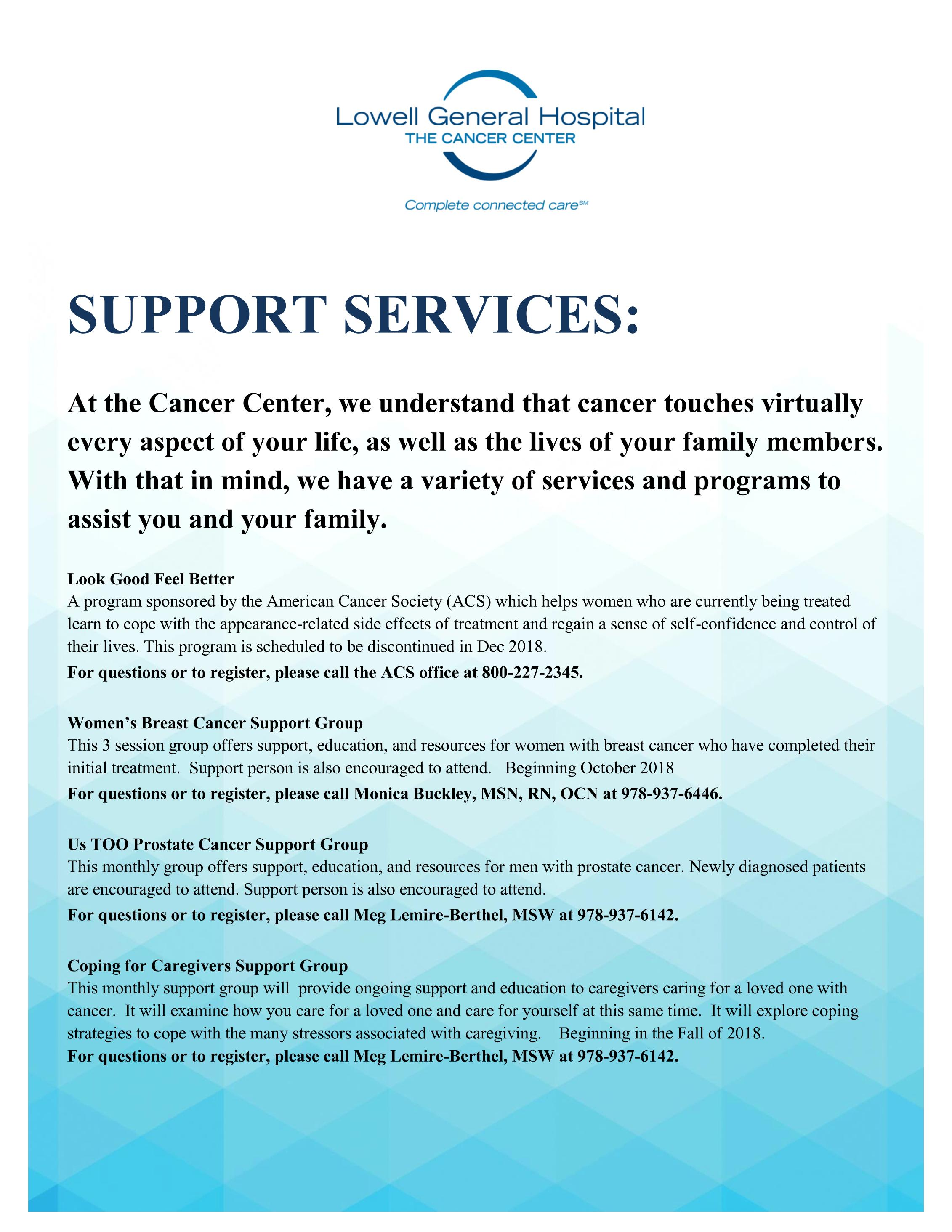 Cancer Center support services