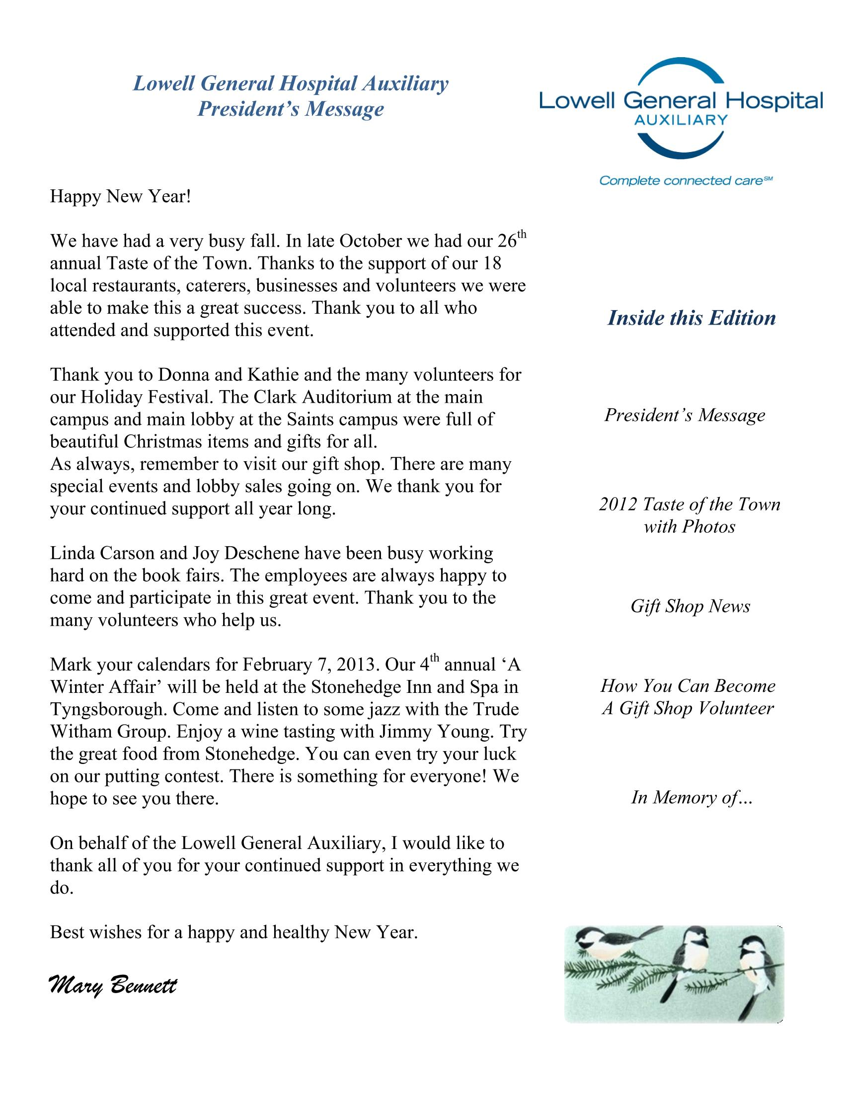 Winter 2013 Auxiliary Newsletter