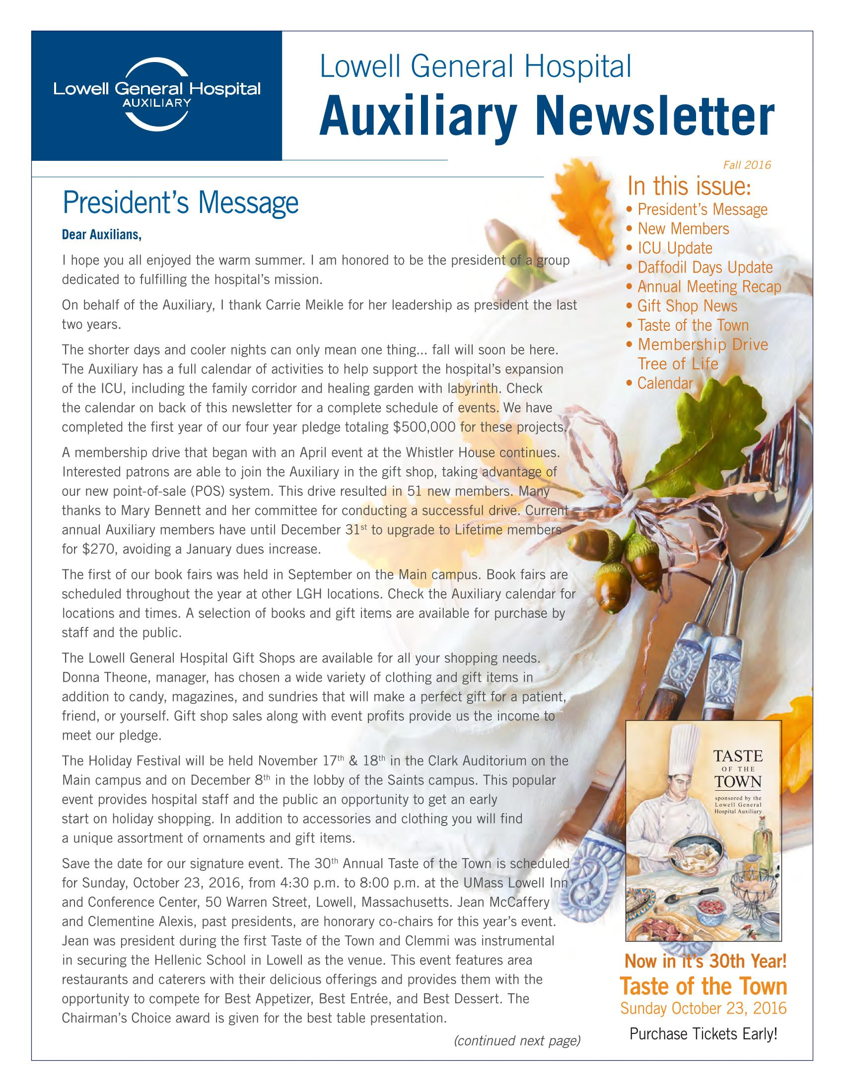 Fall 2016 Auxiliary Newsletter