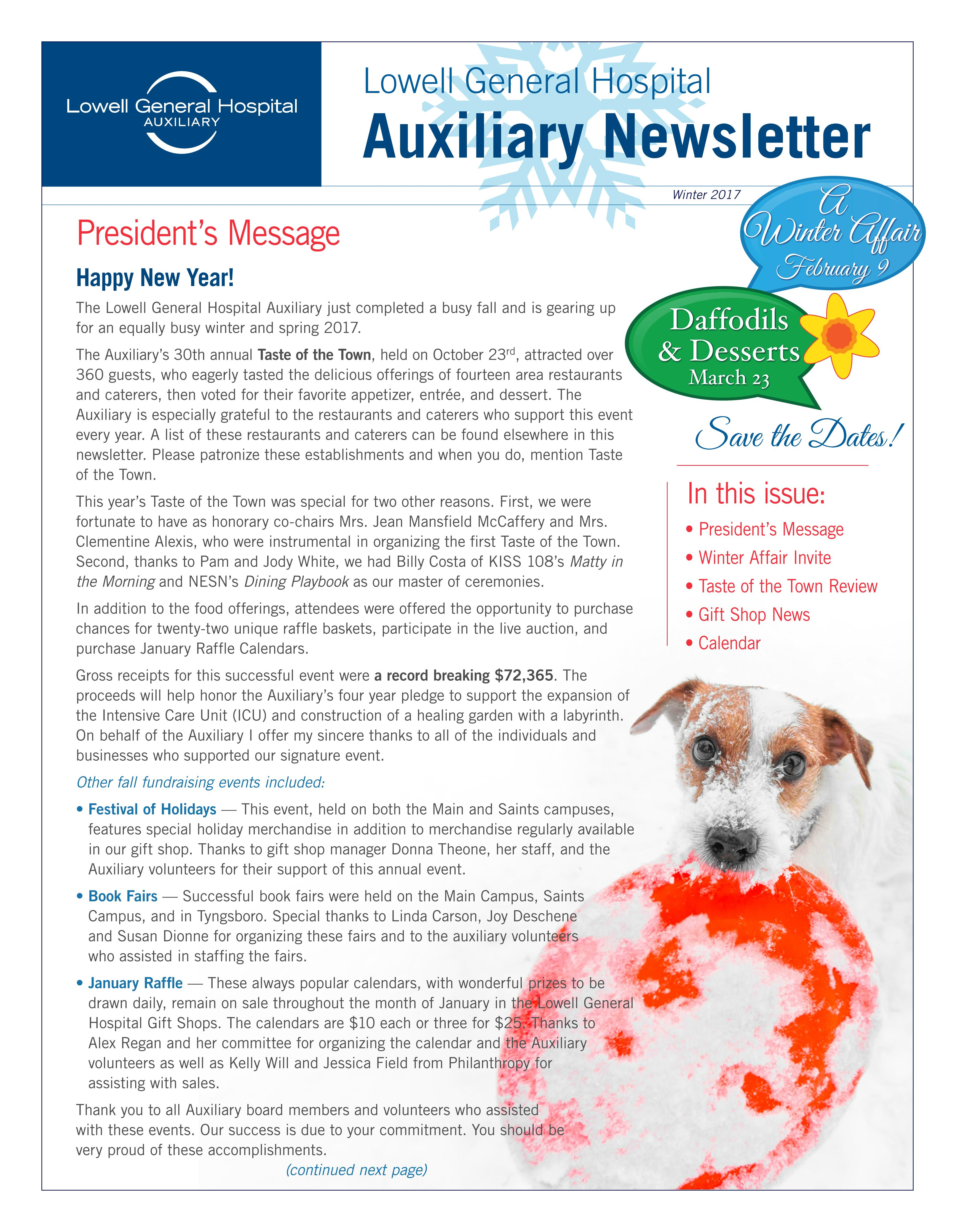 Winter 2017 Auxiliary Newsletter