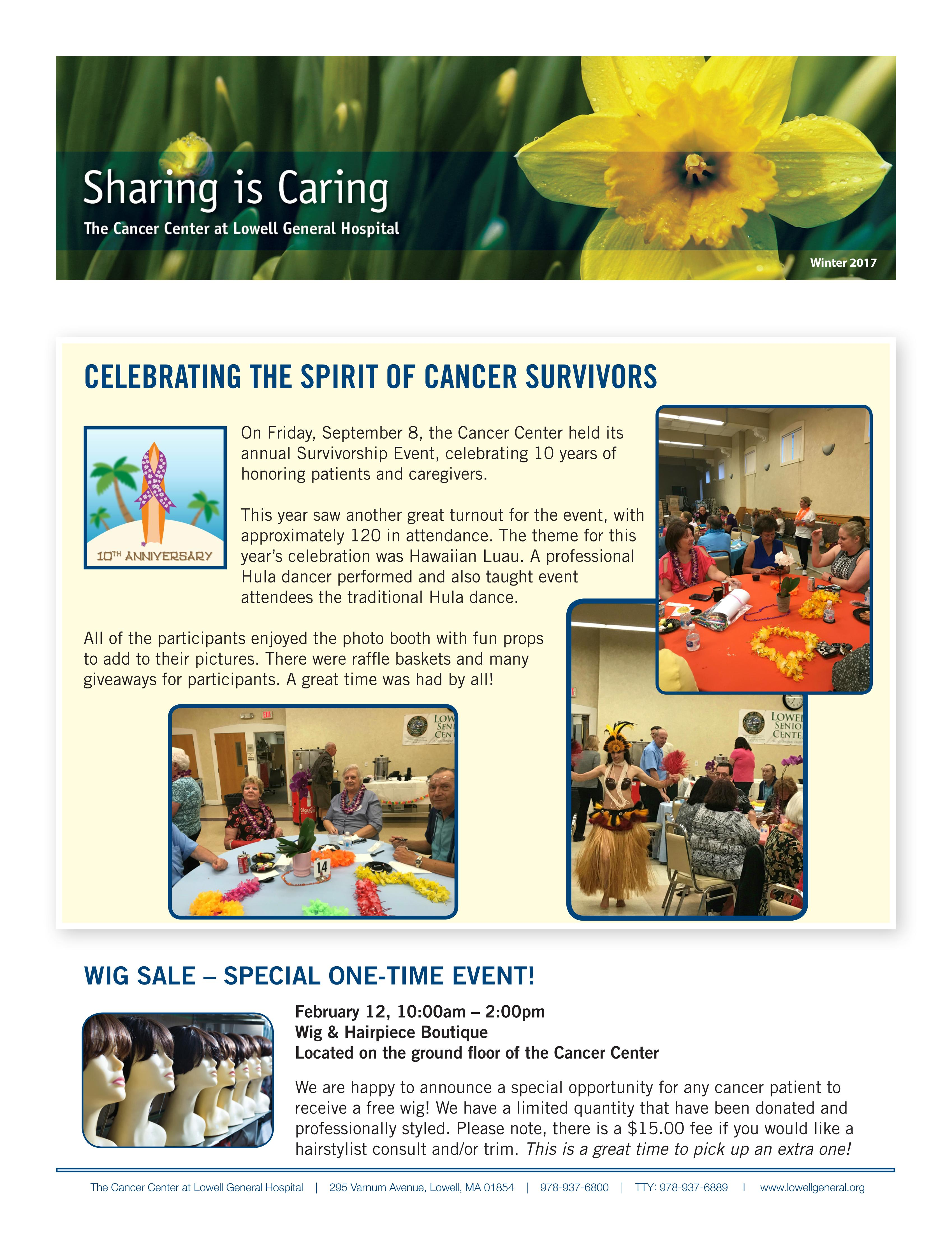 Cancer Center Community Newsletter, Winter 2017