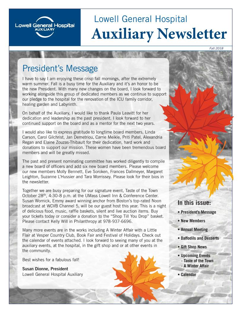 Fall 2018 Auxiliary Newsletter