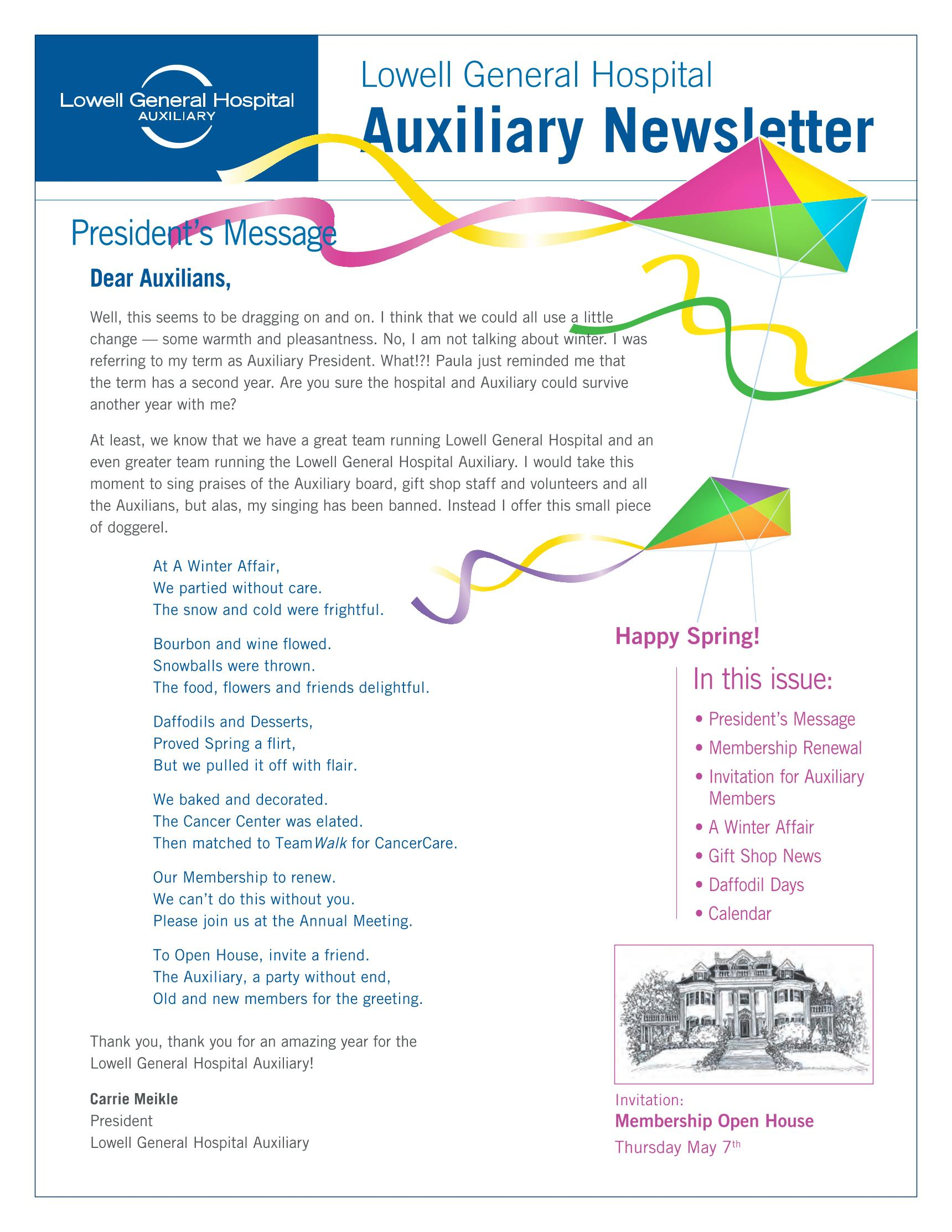 Spring 2015 Auxiliary Newsletter