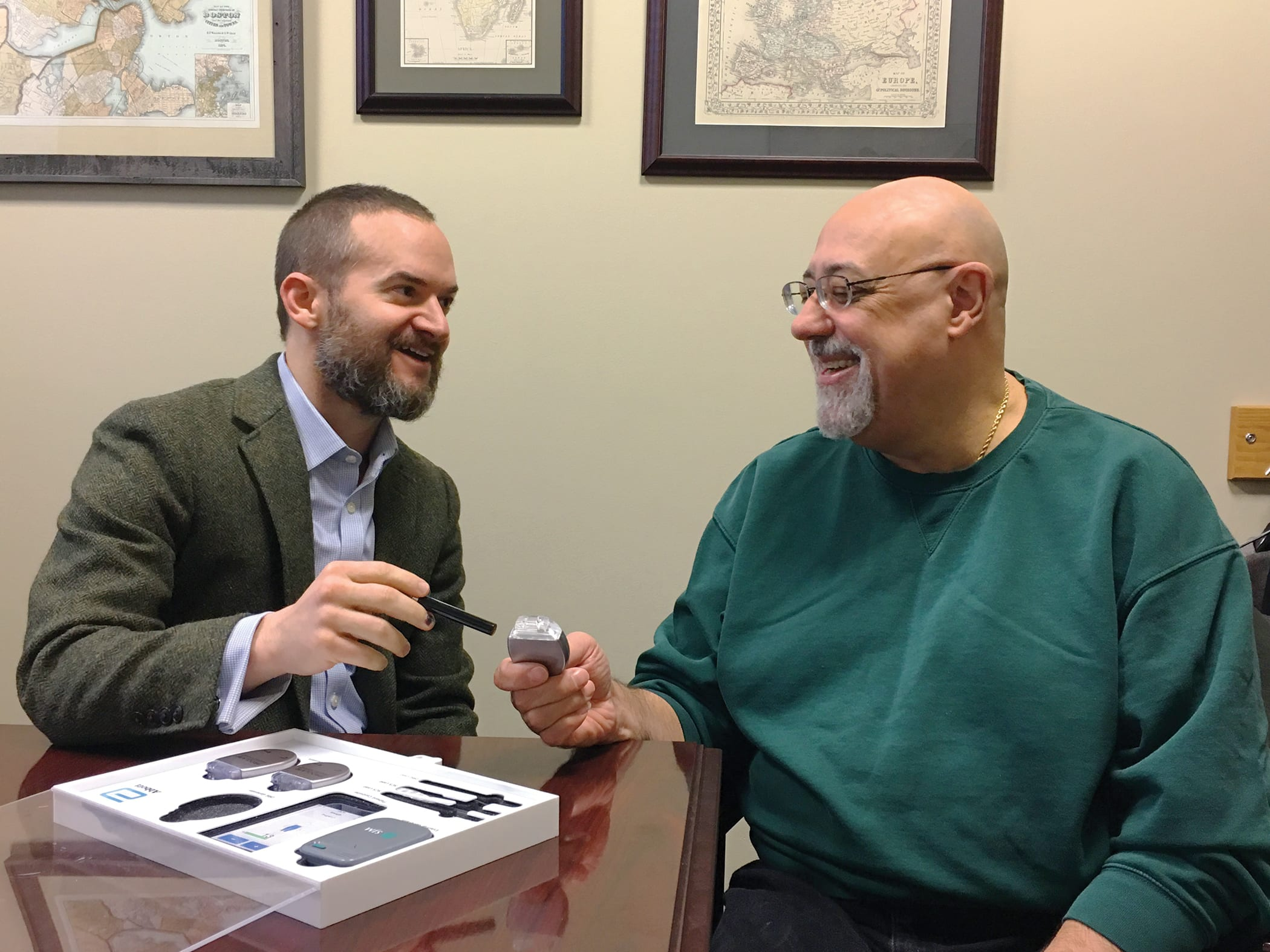 Dr. Benjamin Henkle with DRG therapy patient Frank Ciaravolo