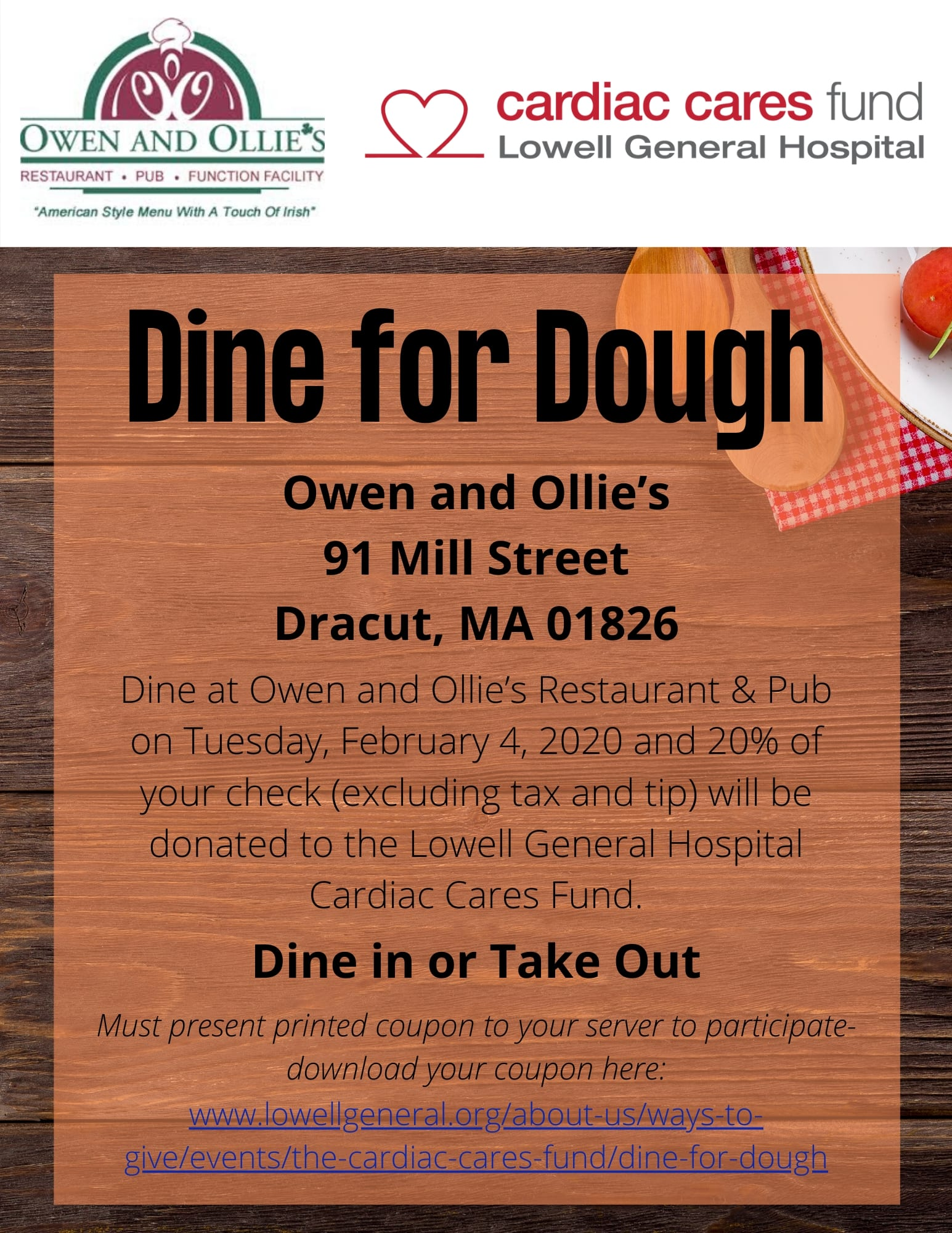 Cardiac Cares - Dine for Dough 2020 Flyer