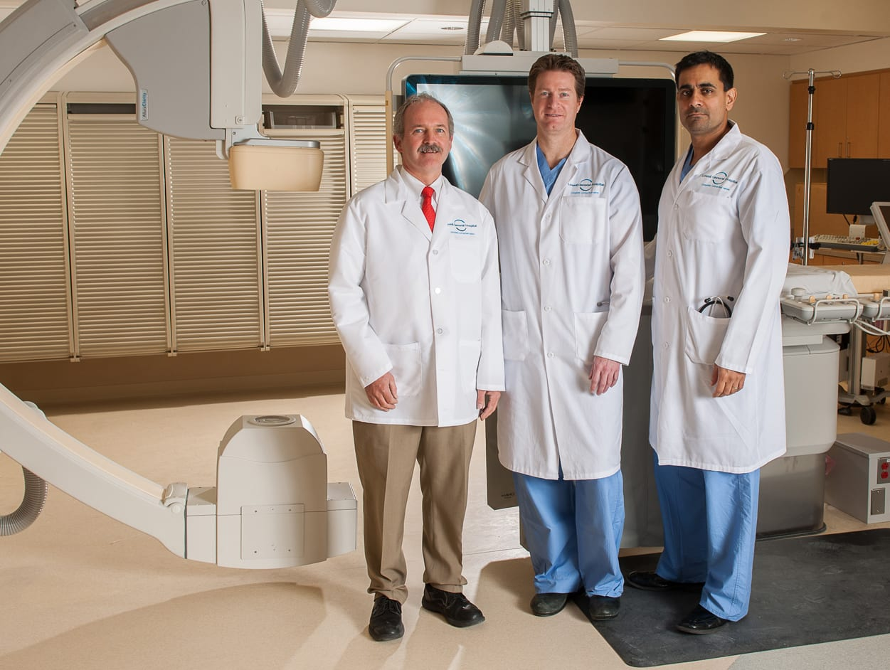 Interventional cardiologists Dr. James Waters, Dr. Kirk MacKnaught and Dr. Omar Ali
