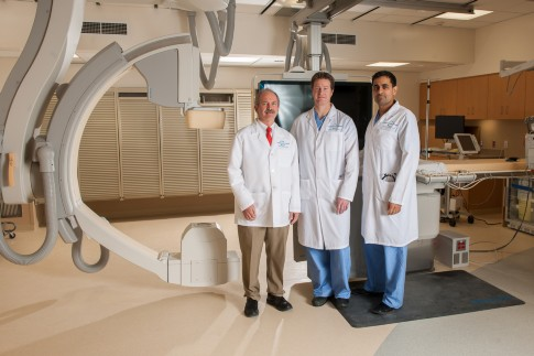 Cardiologists James Waters, MD; Kirk MacNaught, MD and Omar Ali, MD.