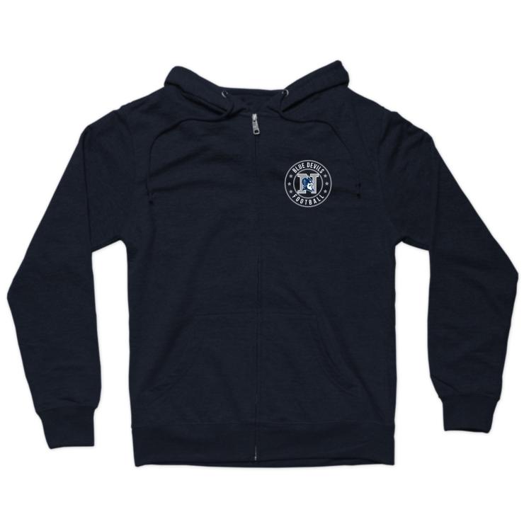 Blue Devils Football Badge Zip Hoodie