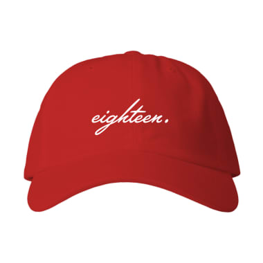 Eighteen Cursive Baseball Style Hats