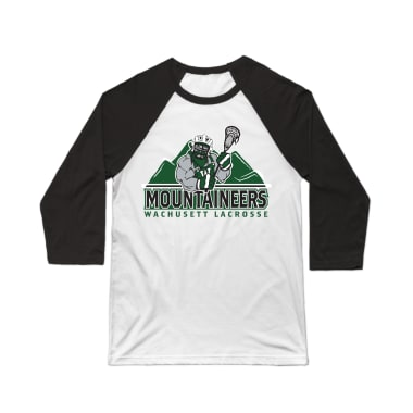 Wachusett Lacrosse Mountaineers Logo Baseball Tee