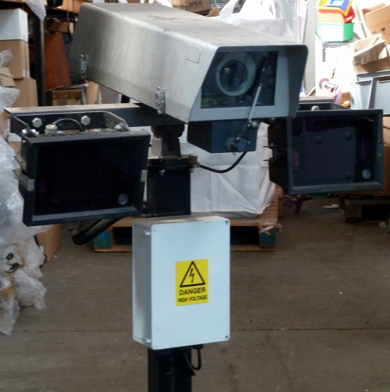 Roof mount CCTV camera with twin infra-red flood lights