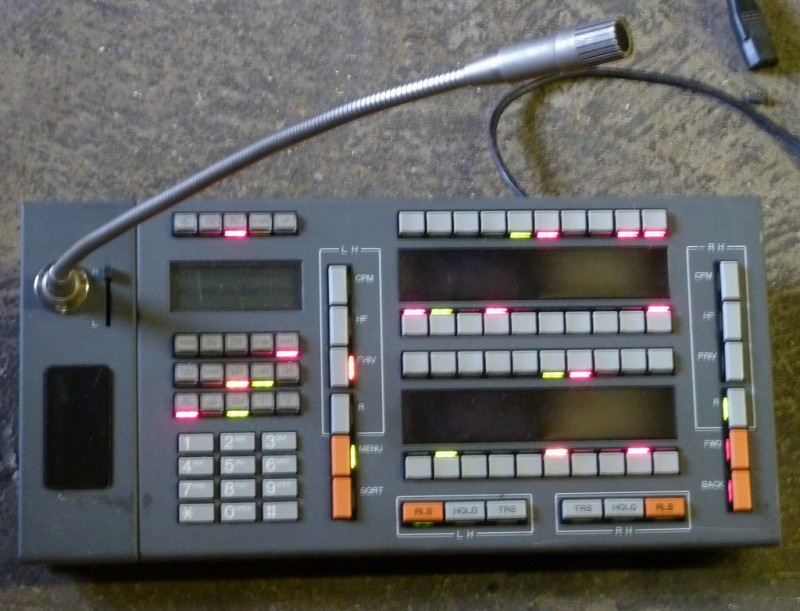 Practical microphone console with buttons & coloured LEDs