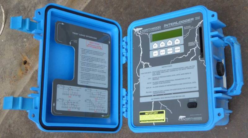 Small blue Peli case with technical contents.