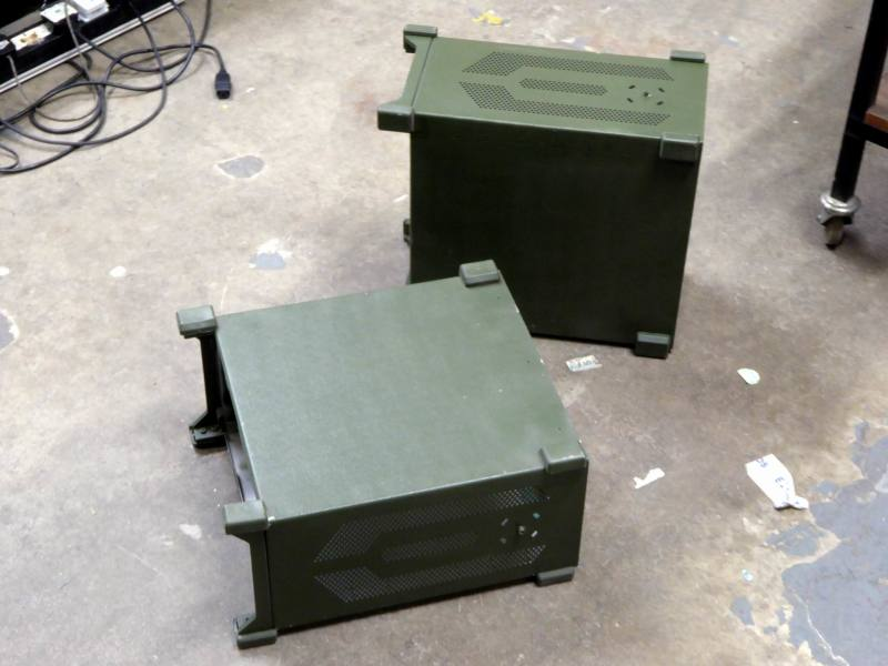 Khaki/olive green army military cases with ruggedised corner bumpers